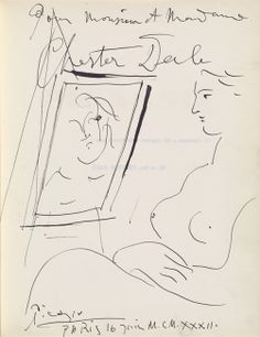 picasso drawings | Drawing and inscription by Pablo Picasso in Galeries Georges Petit ...