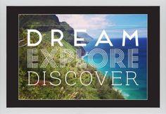 Dream Explore Discover Framed Print, White, Contemporary, Cream, Black, Single piece, 20 x 30 inches, White