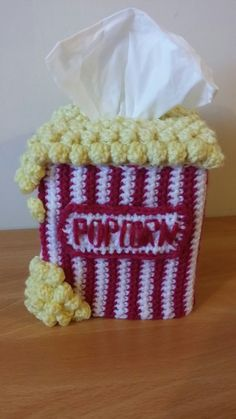 Crochet popcorn tissue box cover cozy                                                                                                                                                     More