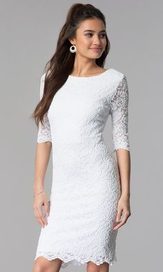 c40d5a02c7f1 Knee-Length Lace Dress with Sleeves