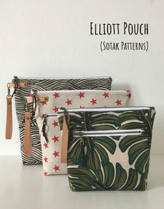 Elliott zipper pouches to sew in three sizes. These fun to sew zipper bags come in 3 sizes in the same pattern. There is an outside zipper pocket, and a taller design meaning the bag can hold more! Ideal for a cosmetics bag to sew or for a toiletry bag. Sew it with a wristlet strap for carrying or hanging. Bag Patterns To Sew, Sewing Patterns Free, Zipper Bags, Zipper Pouch, Leather Handle, Leather And Lace, Diy Bags Tutorial, Diy Fashion Accessories, Pouch Pattern