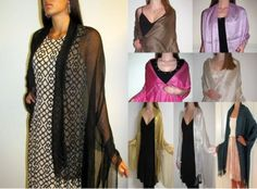 Product No.: 2751 Enjoy this Collection of  Beautiful Shiny Formal Shawls Wraps Scarfs in many colors for your evening dress/gown. These silk blend formal ladies shawls on sale are available at an unbelievable discounted sale price. Buy our Designer Evening dressy Shawls and look fashionably elegant at an affordable price. Great gift idea.