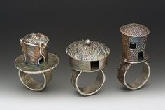 silver yurt ring castle ring novelty ring eco friendly by lynncobb, $325.00