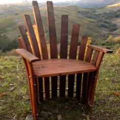 Queen Chair made from wine barrel staves.