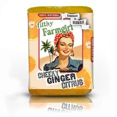 "Cheeky Ginger Citrus Soap ""The fresh-sqeezed flavors of sweet Orange, Pink Grapefruit, and Italian Lemon quenches my pores and the Ginger really gives my skin a healthy zing!"""