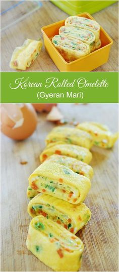 Gyeran Mari - Korean rolled omelette! Great as a lunch box item, or a side dish to any meal of the day! #KoreanFoodRecipes