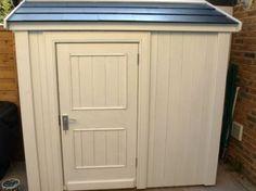 Bespoke half shed Backyard Storage Sheds, Backyard Sheds, Garden Sheds, Shed Storage, Tall Cabinet Storage, Garden Shed Exterior Ideas, Slate Effect Tiles, Posh Sheds