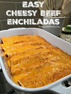 Today's recipe share is one of our youngest daughter's favorite meals and what she requested for her back-to-school dinner last week - Easy Cheesy Beef Enchiladas. Easy Cheesy Beef Enchiladas Easy Cheesy Beefy Enchiladas have Easy Beef Enchiladas, Ground Beef Enchiladas, Mexican Dinner Recipes, Mexican Dishes, Mexican Desserts, Pozole, Tamales, Tostadas, Empanadas