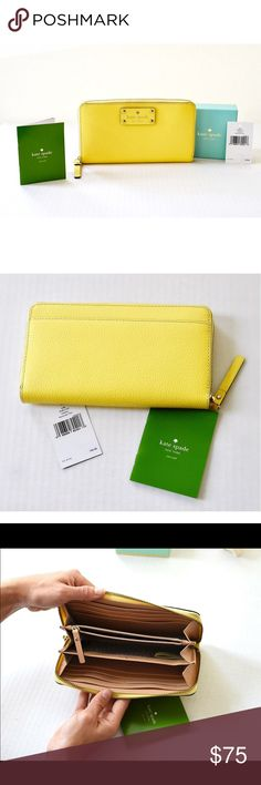 Kate Spade Wellesley Wallet - WLRU1153- Limoncello New with Tags!! This Kate Spade continental wallet was purchased from their store in Orlando & never used. A zip-around to stow anything you need, including cash or CC's to carry in. It has plentiful pockets & slots, including a coin compartment in the middle.     material  boarskin embossed cowhide with matching trim  14-karat light gold plated hardware  custom woven rainspot lining  12 credit card slots, 3 billfolds, zipper change pocket…