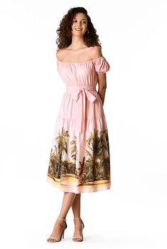 Ruched tier landscape print matte crepe dress #eShakti