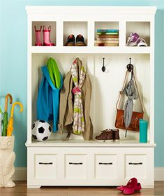 Build a jaw-dropping drop zone for your entry. This beautiful DIY furniture piece boasts a host of storage solutions for your whole family.