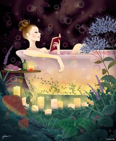 Bliss - Reading in the bath - Kentaro Hisa