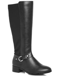 Evans Black Metal Trim Stretch Back Riding Boots - Evans