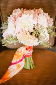 The bridal bouquet for this boho beachside wedding was comprised of white and blush dahlias with accents of greenery and succulents all tied with the bride's scarf. | Bob Gail Events #bohowedding #bridalbouquet Wedding Bouquets, Wedding Flowers, Blush Wedding Colors, Different Types Of Flowers, Groom And Groomsmen, Floral Centerpieces, A Boutique, Boho Wedding, Event Planning