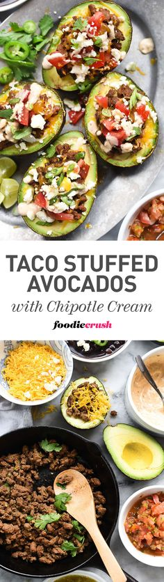 Creamy avocados are the shell for easy weeknight beef tacos with chipotle flavored sour cream for a taco night twist | foodiecrush.com #tacos #avocados #ad #Hormel Avacado Stuffed Chicken, Chicken Avacado Burrito, Baked Stuffed Avocado, Baked Avocado, Avacado Tacos, Guacamole, Avocado Boats, Avacado Dinner, Avacado Lunch