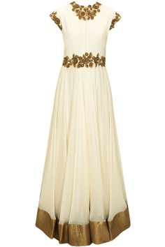 Cream sequins and metal flower embellished flared long gown available only at Pernia's Pop-Up Shop.