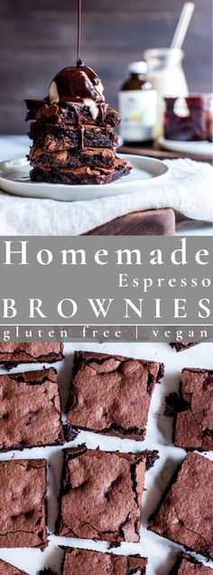 Like a chocolate truffle in brownie form, Homemade Espresso Brownies – gluten free   vegan are melt in your mouth and so simple to make. Fudgy or cakey, you decide! #brownies #espressobrownies #dessert #vegan #glutenfree | vanillaandbean.com @vanillaandbean