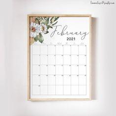 Printable Wall Calendar 2021 Watercolor Calendar 2021   Etsy Wall Calendars, Copy Print, Floral Wall, African Art, Printing Services, Bullet Journal, Printables, Watercolor, Artwork