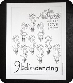 12 days of christmas cute Christmas coloring pages...for the ward activity....find and go up to the stage Make sure they have their props first...before they go up on stage