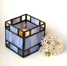 Stained Glass Candle Holder -  Purple and Clear Glass - Votive or Tea Candle. $32.00, via Etsy.