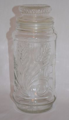 Vintage 1982 PLANTERS PEANUTS Wheat Design Clear Glass Nuts Jar ~ Ribbed Top #Planters