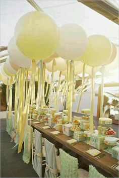 What a cute outdoor canopy idea. Streamers and balloons. festive colors flowing above. Adorable for a rainbow party with white balloons. Party Fiesta, Festa Party, Giant Balloons, White Balloons, Round Balloons, Large Balloons, Pastel Balloons, Hanging Balloons, Number Balloons
