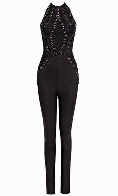 a62f130f34d2 Halter Lace Up Bandage Jumpsuit Black