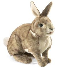 Folkmanis' COTTONTAIL RABBIT is 15 inches and super soft. It sits alert with ears perked; front paws and mouth are movable on this life-like rabbit.