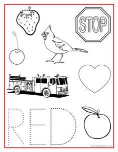 red color activity sheet kindergarten colorspreschool - Activity Pages For Preschoolers