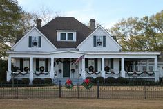 """Moates country home, """"Seven Gables"""", circa 1909, Enterprise, Alabama . Just LOVE decorating our old country home for the holidays. """"Click"""" on the picture and see our vintage Christmas decorations inside. MM"""