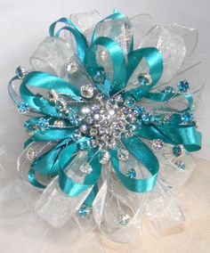 Teal corsage I made for son's prom date! teal and silver, rhinestone corsage, wrist corsage, DIY corsage, flowerless corsage, wedding, prom, bling, wristlet, keepsake corsage, silver corsage, blue corsage
