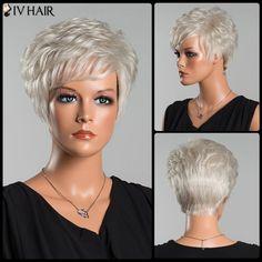 Layered Short Curly Oblique Bang Siv Human Hair Wig