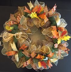 "Fall Wreath, Autumn Wreath, Fall Decor, Autumn Decor, XL 26"" Wreath, Deco Mesh Wreath by CreationsByRunco on Etsy"