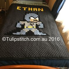 Monogrammed *-Bit Batman Blanket, C2C throughout, backed in cotton fabric with self-binding