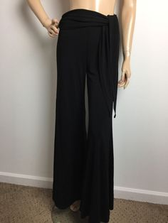 Cache Women's Palazzo Black Pants Fabric Belt Size Small  | eBay
