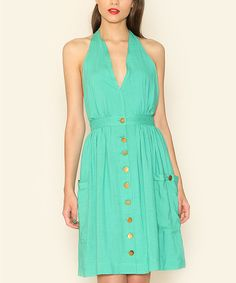 Look at this Pepaloves Green Button Halter Dress on #zulily today!