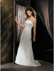 Strapless Embroidered Bodice A-line Wedding Dress