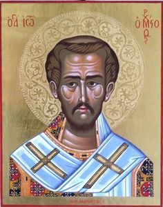 Religious icon Saint John the Chrysostom, Patriarhc of Constantinople.  The halo is crafted by hand.