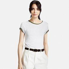 Women's Modal Linen T-Shirt, WHITE