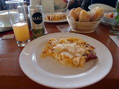 Breakfast stop at Neusiedl am See: Scrambled eggs with dried tomatoes and Grana Padano.