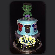 Superhero baby shower cake by Portia Cakes