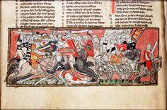 Manuscrito Bodleian Library, século XIV, vagão para transporte de armas, soldados e até cadáveres. O vagão de guerra.