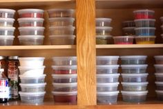 Organize the spices in clear, stacking containers... I guess there's no rule about spice containers being tall and narrow, is there.