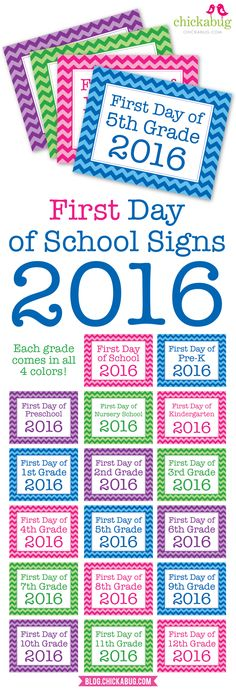 Free printable first day of school signs 2016