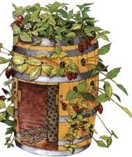 Grow 20 plants in the space of one with a mini high rise. Maximize your strawberry growing space by converting a barrel into a vertical garden.