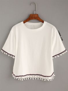 Shop White Embroidered Tape Trimmed T-shirt online. SheIn offers White Embroidered Tape Trimmed T-shirt & more to fit your fashionable needs. Look Fashion, Girl Fashion, Fashion Outfits, Latest Fashion, Fashion Trends, Cute Shirts, Casual Shirts, Cute White Shirts, Summer Outfits