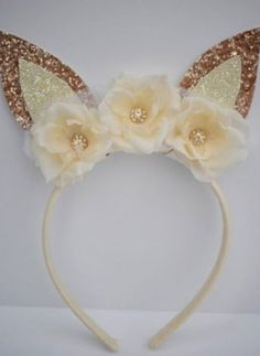 Couture Bunny Ears Headband Champagne/Ivory