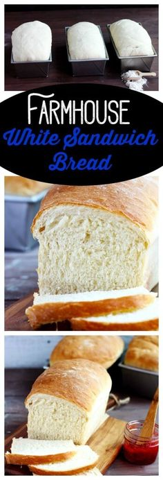 Farmhouse White Sandwich Bread A delicious soft white bread that?s perfect for sandwiches, toast and grilled cheese. An all purpose bread that you? Bread And Pastries, Bread Bun, Bread Rolls, Sweet Bread, Bread Baking, Baking Recipes, Food To Make, Sandwiches, Food And Drink