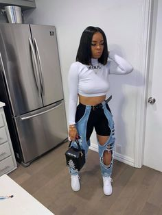 Source by baddie outfits Cute Swag Outfits, Chill Outfits, Dope Outfits, Trendy Outfits, Summer Outfits, Streetwear Mode, Streetwear Fashion, Black Girl Fashion, Look Fashion