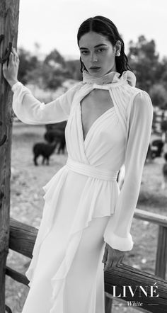 alon livne 2018 2019 white bridal long bishop sleeves high neck keyhole bodice wrap over simple elegant modified wedding dress keyhole back (nancy) mv -- Livné White Wedding Dresses are Perfect for the Modern Bride | Wedding Inspirasi #wedding #weddings #bridal #weddingdress #bride ~